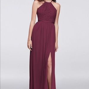 Open back lace and mesh bridesmaid dress